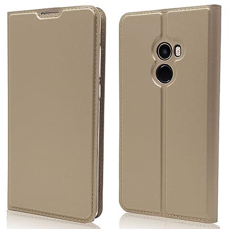sinogoods para Xiaomi Mi Mix 2 Funda, Cuero De La PU Magnético Capirotazo Billetera Apoyo Bumper Protector Cover Funda Carcasa Case - Dorado