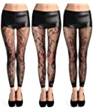 Abberrki Women High Waist Fishnet Footless Leggings Flower Pattern Footless Tights