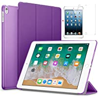 for Apple iPad Air 2/iPad 6 Ultra Slim Smart Case Folio with (Translucent Back) Stand Flip Cover case Free with Glossy Screen Guard for for Apple iPad Air 2/iPad 6 Model (Purple)