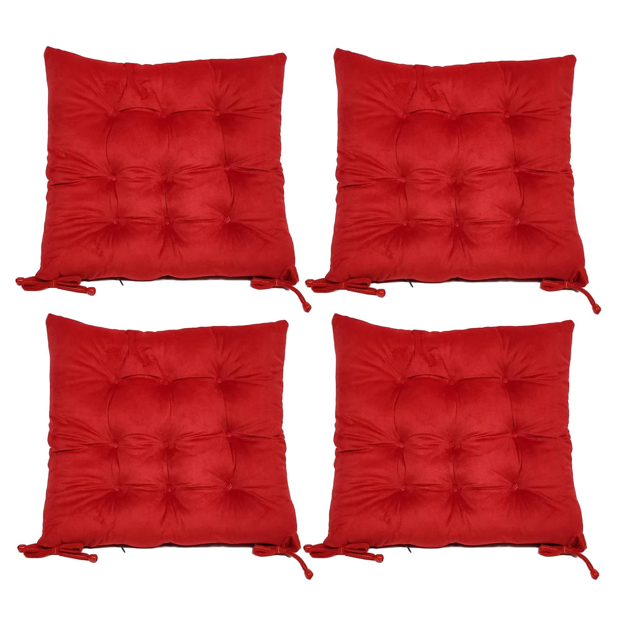 "Hevice Chair Cushion Chair Pad, Chair Pad Kids Seat Cushion Desk Chair, Chair Pad Set of 4 Red, 15""x15""x2""/Piece"