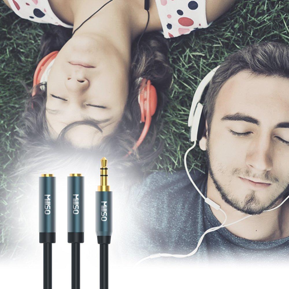 MillSO R/épartiteur de casque 3,5 mm Adaptateur jack pour iPod Mic + Audio t/él/éphone mobile ordinateurs portables R/épartiteur 4 p/ôles m/âle // femelle double microphone