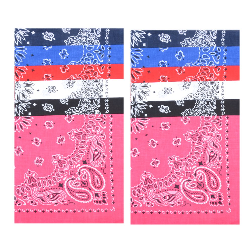 12 Pack Cotton Bandanas Handkerchiefs for Home Decoration with 6 Colors