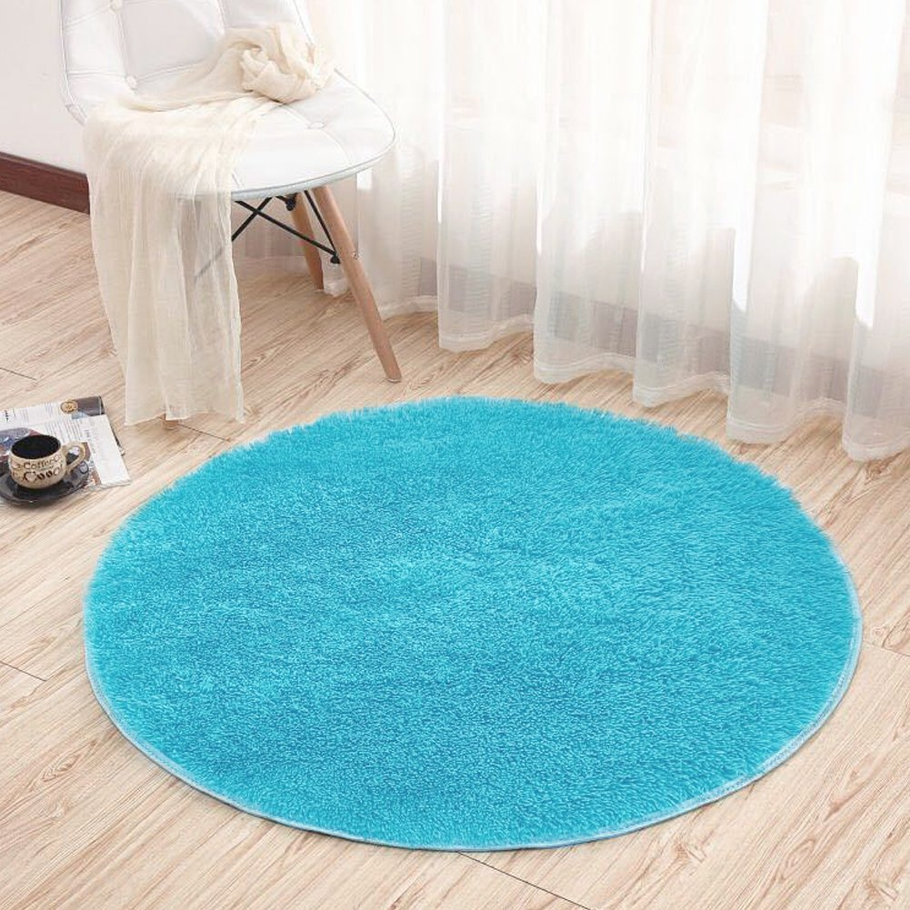Dotesy Soft Furry Round Area Rugs for Baby Living Room Bedroom Home Shag Carpet 4-Feet,Apple Green