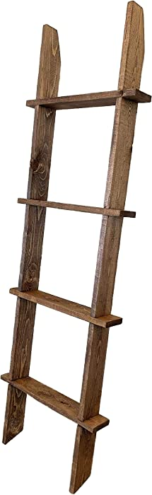 Strix Ind 5ft Rustic Blanket Ladder | Stable Farmhouse Furniture | Made in USA | Towel Ladder for Bathroom | Chic Boho Decor… (Rustic Brown)