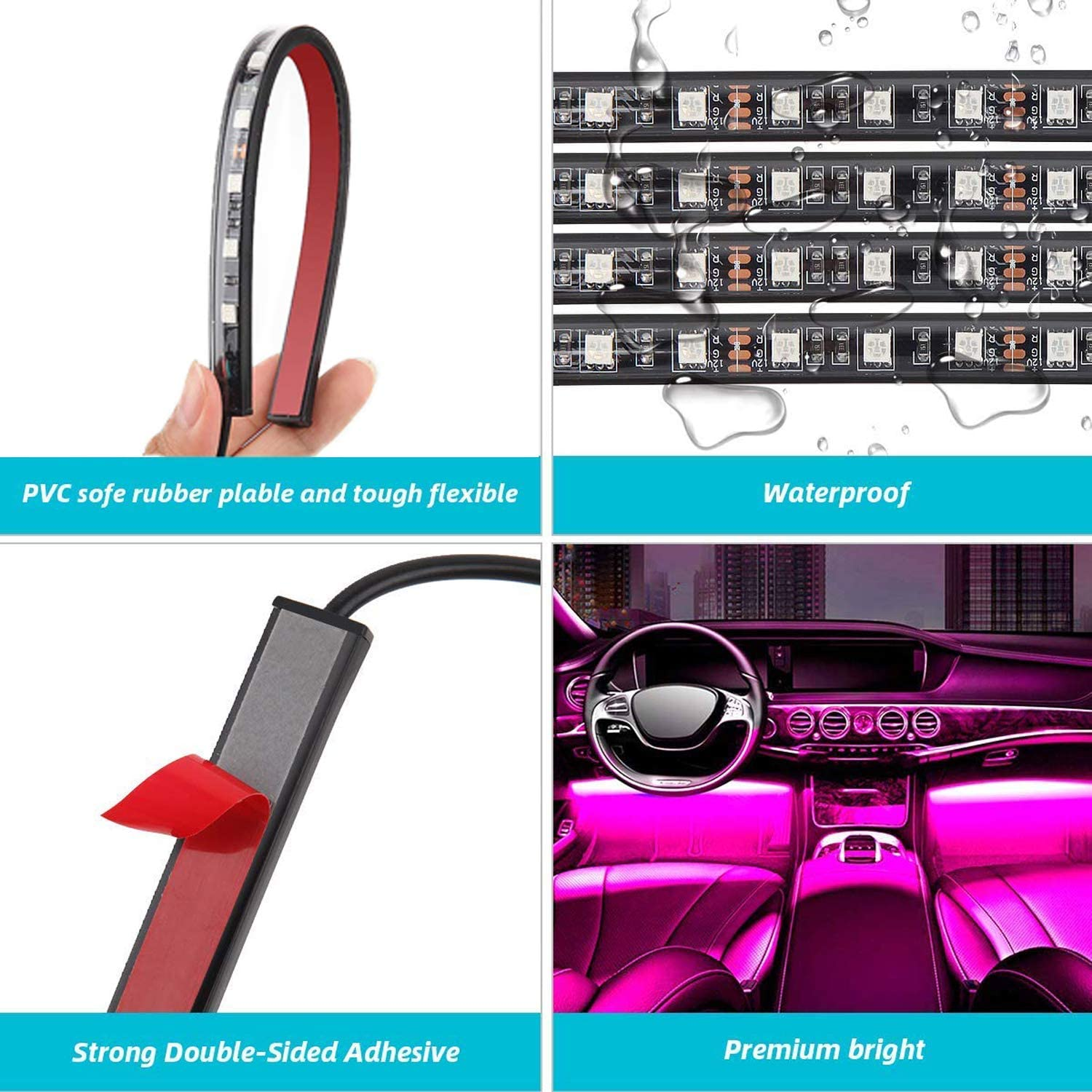 Easy change any color 2020 New Waterproof 4pcs 48 LED Underdash Lighting Kit with Color Knob Adjust Speed and Mic sensitivity Airgoo RGB Car LED Strip Light Music Car Interior Lights Smart Control