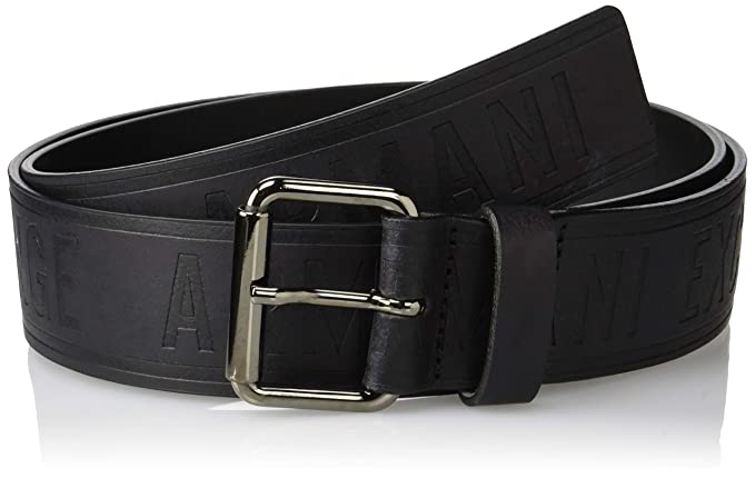 Armani Exchange Leather Belt with Logo, Ceinture Homme, Noir (Nero 00020), 3ba65443a02