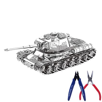 3D Metal Puzzle Tank Model Kit DIY Laser Cut Assemble Jigsaw Toy Gift con 2 Alicates