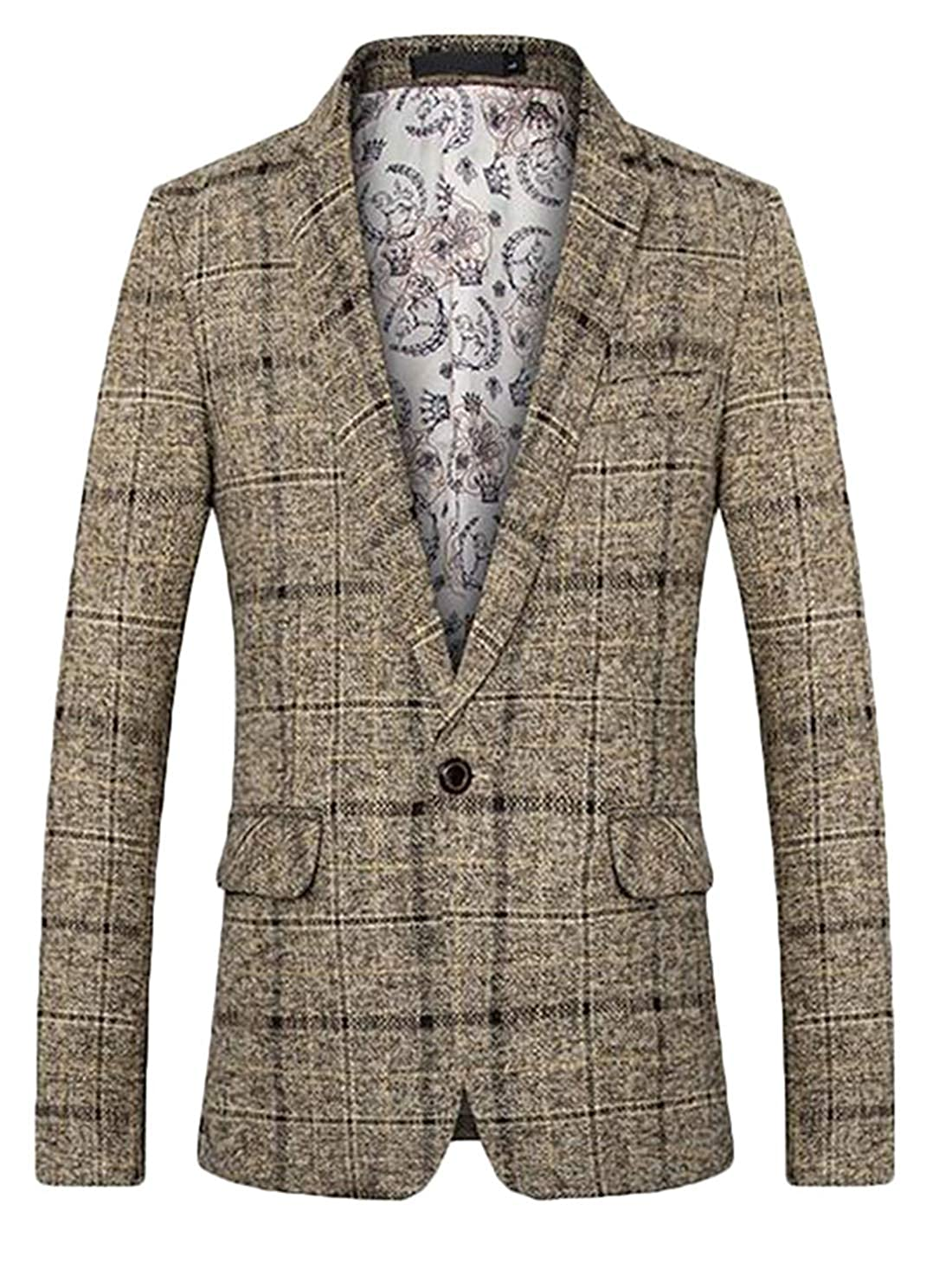 Twcx Mens Casual Flap Pockets One Button Checked Lightweight Slim Fit Jackets Blazer