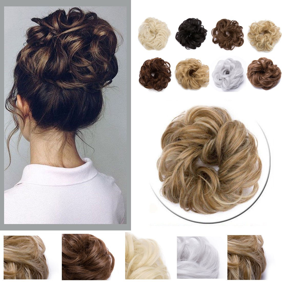 S-noilite Hair Bun Extensions Messy Updo Ponytail Scrunchie Donut DIY Chignon Elastic Synthetic Long Wrap Around[1or2pack]