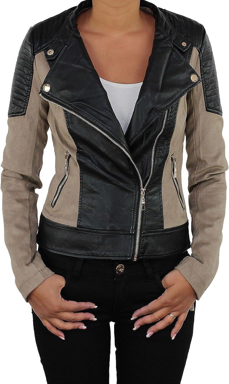 Jacke Lederjacke Kunstlederjacke Kunstwildleder Damenjacke Jacket Bikerjacke P2