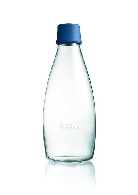 ApS Retap 0,8 litro Botella de Agua Grande Cristal de borosilicato, Azul Oscuro