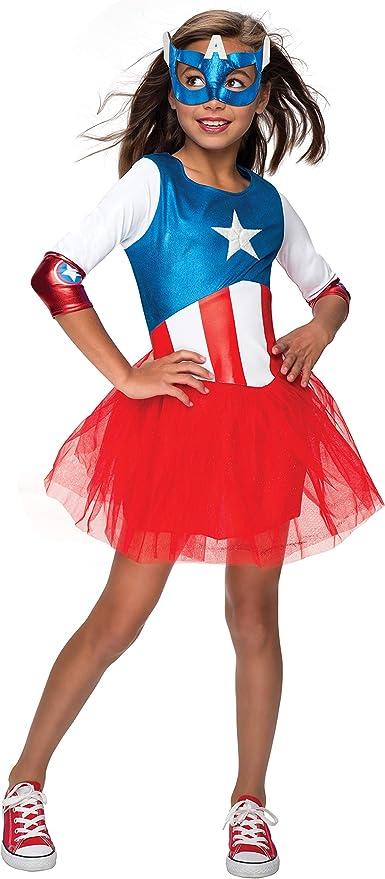 Ladies American Captain Womens Rubie/'s Fancy Dress Superhero Licensed Costume