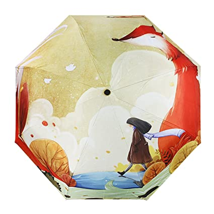 Paraguas infantil, plegable, colorida impresión 3D, resistente al viento y a los