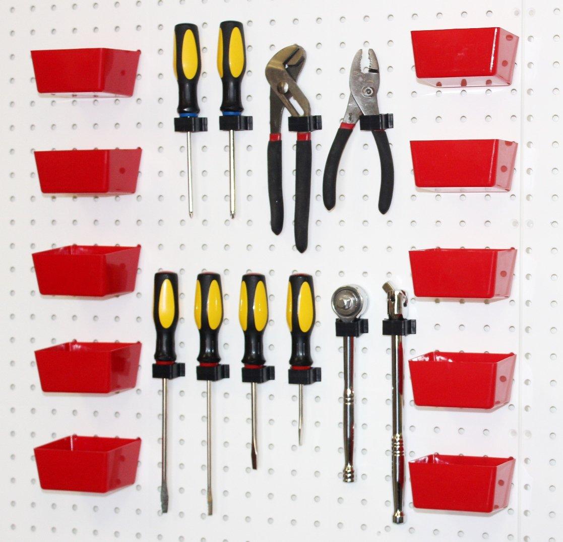 WallPeg Plastic Part Bins Red Pegboard Bin Kit AM 10R BX