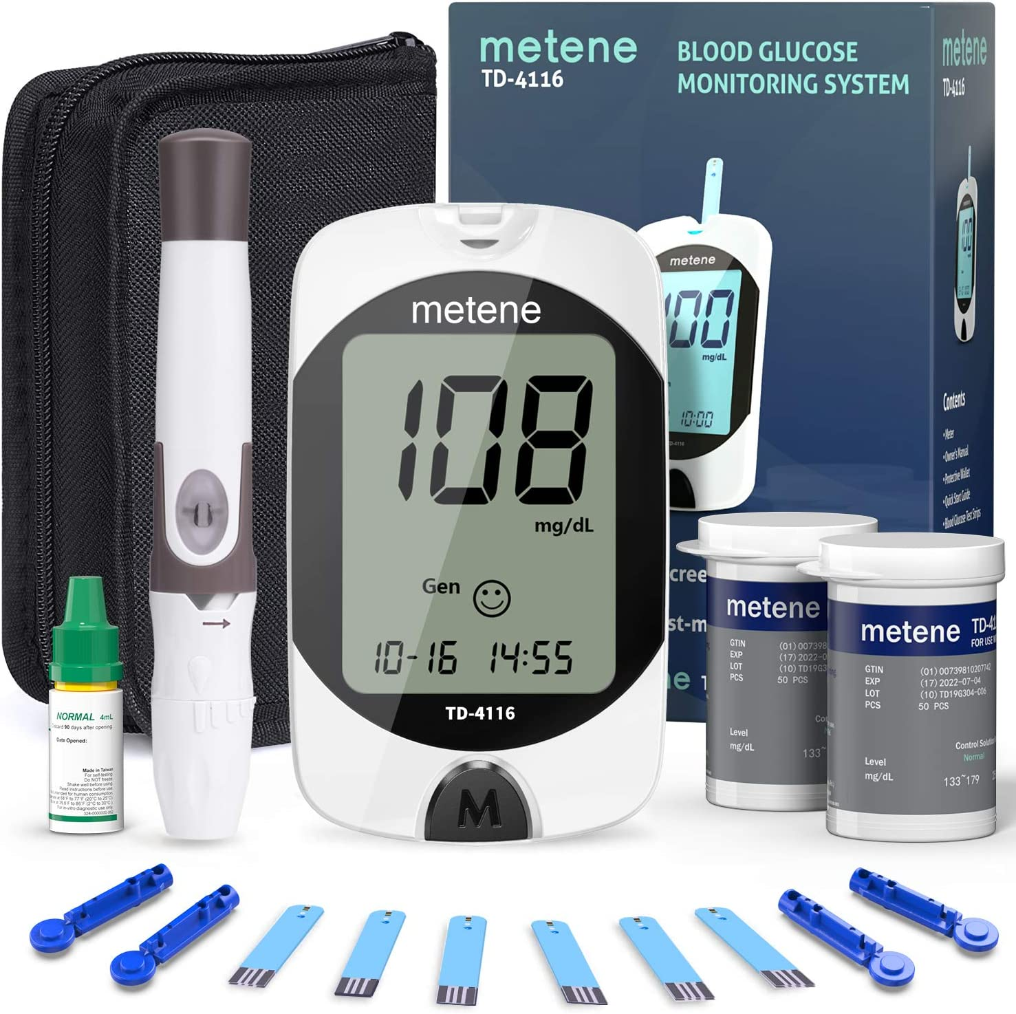 Blood Glucose Monitor Kit, 100 Glucometer Strips, 100 Lancets, 1 Blood Sugar Monitor, 1 Lancing Device and 1 Control Solution, metene TD-4116 Blood Sugar Test Kit, No Coding