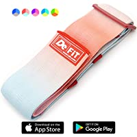 DeFiT Booty Bands Set of 3 Non-Slip Glute Workout Hip Bands - Same Size but Different Resistance - Best Fabric Resistance Bands for Legs and Butt Exercises - App, Nutrition & Workout Guides Included