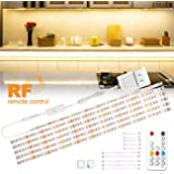 wobsion Under Cabinet Lights Warm White, Kitchen Cabinet Lighting, 6 PCS Dimmable Strip Lights with RF Remote,12V,High Bright