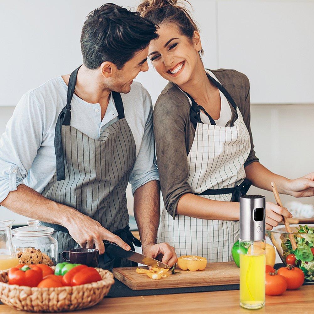 Olive Oil Sprayer for Cooking Food-grade Glass Vinegar Bottle Oil Mister Dispenser for BBQ Salad Roasting Baking Grilling Frying Kitchen by Herimend (Image #7)