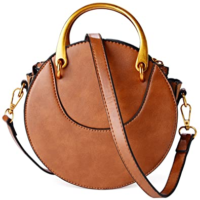 Leather Round Purse Fashion Tote Bag Crossbody Bag for Women (Brown) (Brown)
