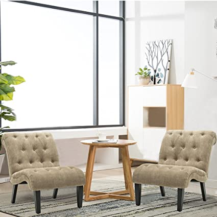 Livingroom Chairs | Amazon Com Haobo Armless Accent Chairs With Button Tufted For