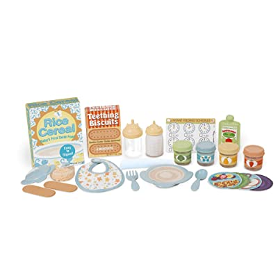 Melissa & Doug Mine to Love Mealtime Play Set for Dolls with Bottle, Pretend Baby Food Jars, Snack Pouch, More (24 pieces): Toys & Games