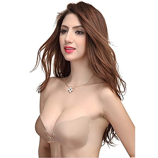 2a6c43fb06e6b ZURU BUNCH Women s Silicone Adhesive Stick Push up Strapless Invisible  Backless Bra (Beige Color