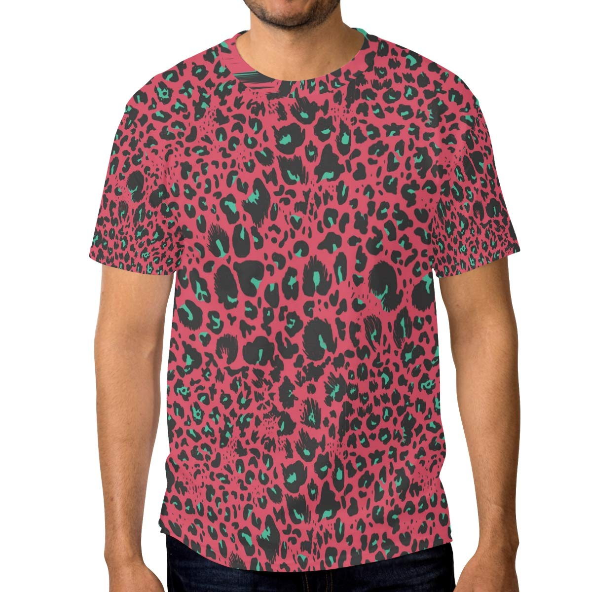 Horror Red Leopard Print Mens T Shirts Graphic Funny Body Print Short T-Shirt Unisex Pullover Blouse
