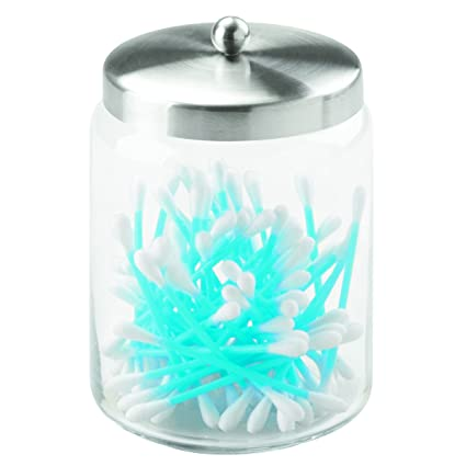 InterDesign Forma Bathroom Vanity Glass Apothecary Jar For Cotton Balls,  Swabs, Cosmetic Pads