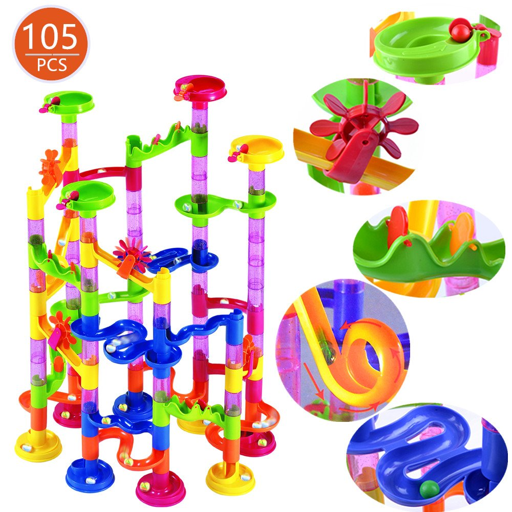Holiday toy Marble Run Set 105Pcs Marble Race Track for Kids with Glass Marbles Construction Building Blocks STEM for 4+ Kids