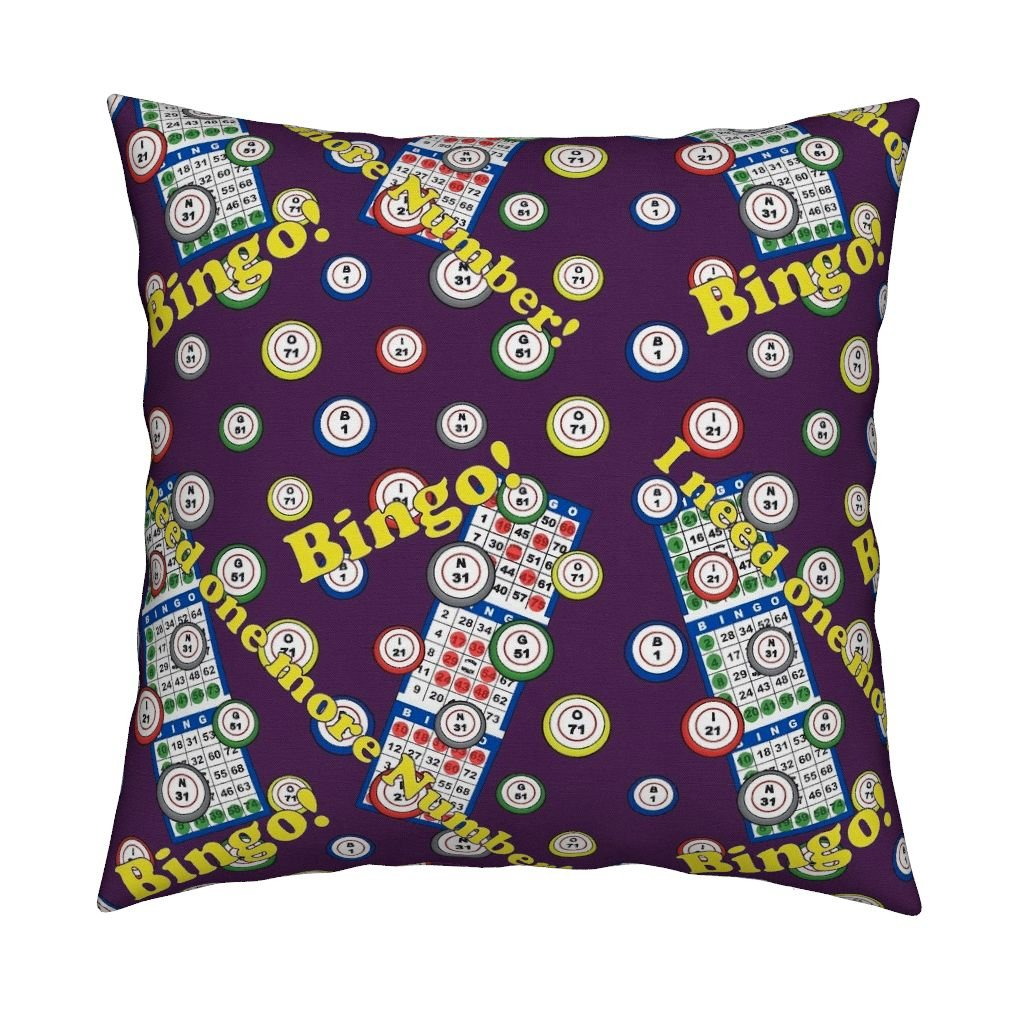 Roostery Bingo Organic Sateen Throw Pillow Cover I Need One More Number! by Dd BAZ Cover Only