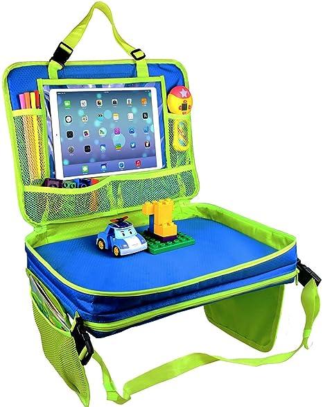 Bandeja de viaje para asiento de coche Gelible para niños con bolsillos de malla extraíbles para