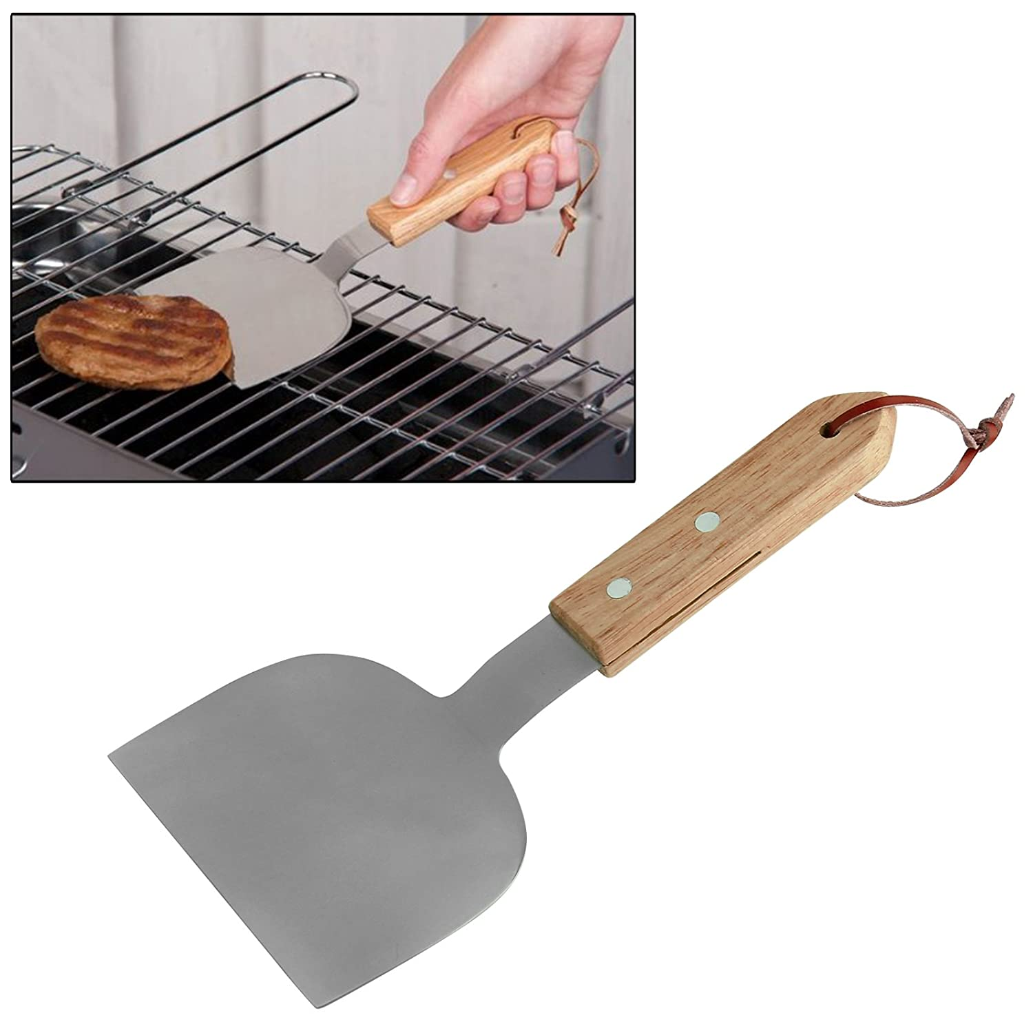 CostMad BBQ Barbecue Barbeque Grill Hamburger Turner Food Flipper Stainless Steel Burger Spatula Kitchen Cooking Serving Utensil Tool