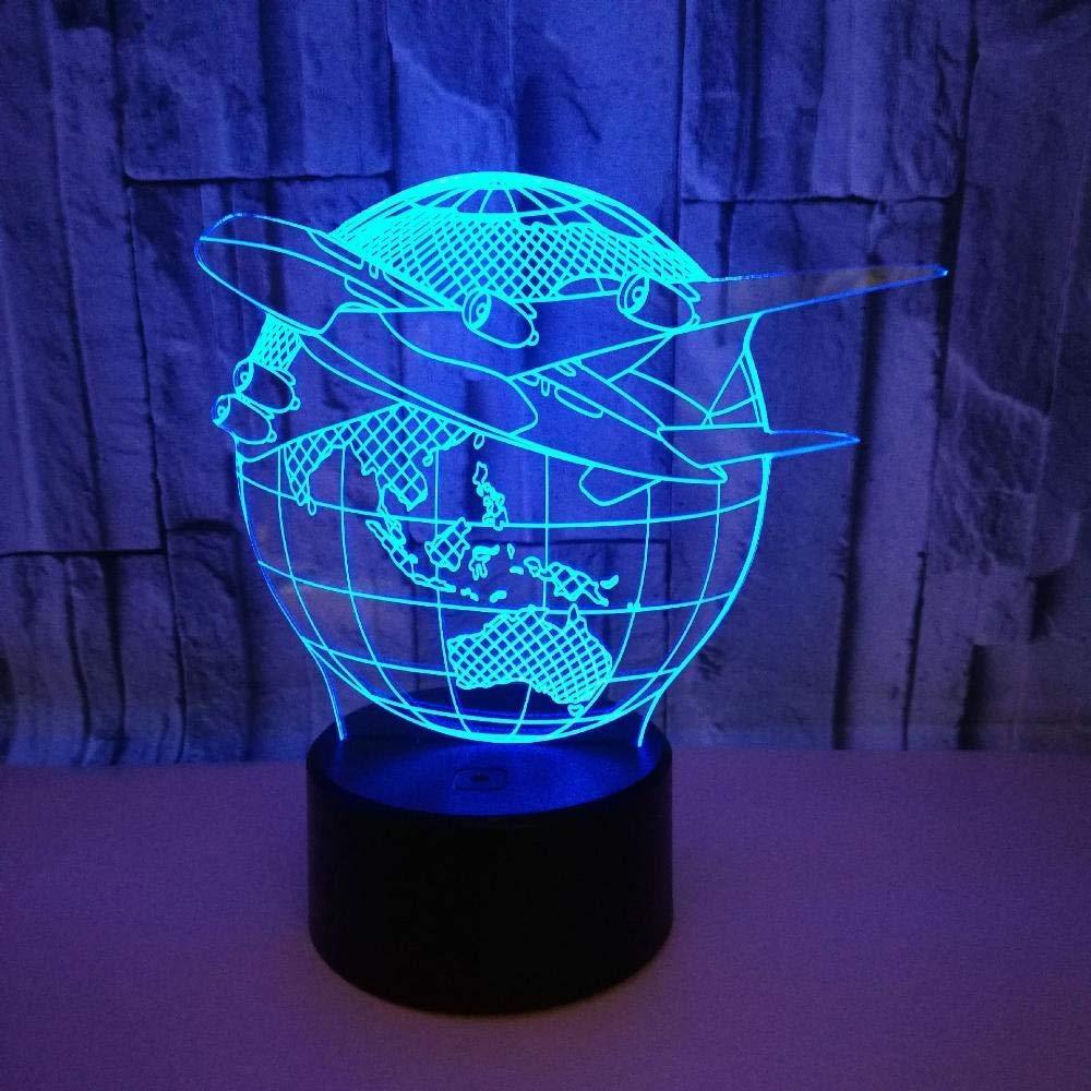 7 Cambio de Color T/áctil LED Sensibles Interruptor L/ámparas Ni/ños Juguetes Decoraci/ón Atm/ósfera l/ámpara Dormitorio Luz,Blackbottom FXQ Luz de la Noche en 3D Creative Air Plane Earth