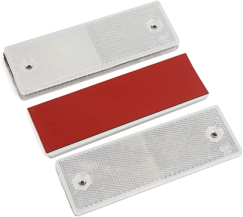 uxcell 4PCS White Rectangle Stick-on Safety Reflector Warning Plate w Mounting Holes