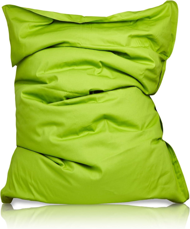 PUF otomano Puff XXL 140 x 180 cm 380l con Relleno Innovador Maxi Puff en algodón para Interiores Verde