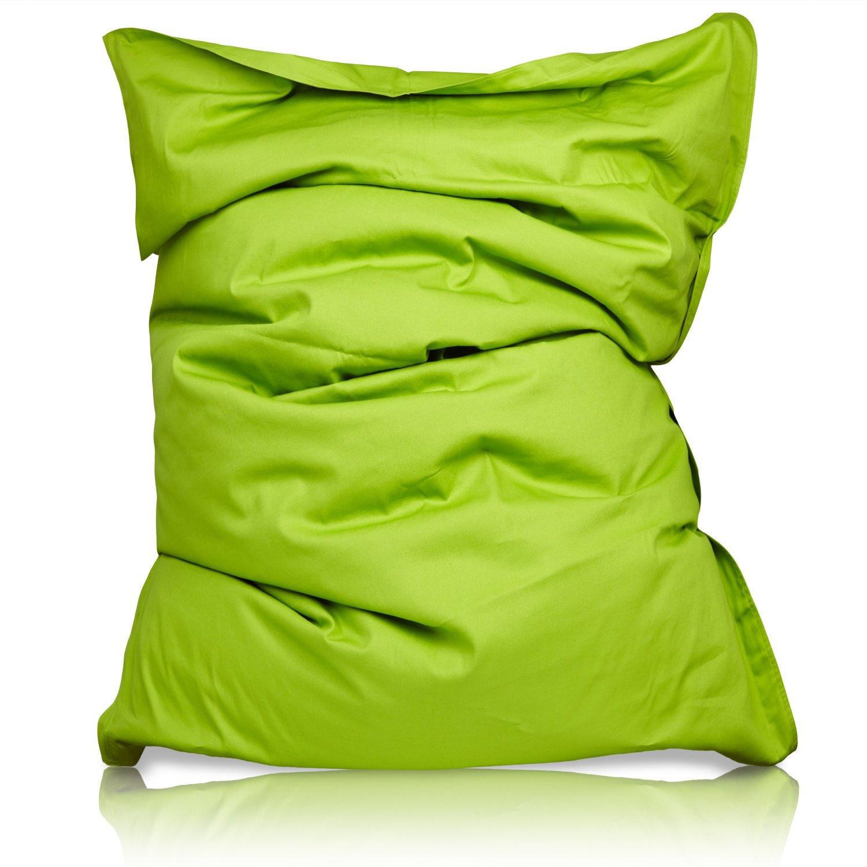 Lumaland PUF otomano Puff XXL 140 x 180 cm 380l con Relleno Innovador Maxi Puff en algodón para Interiores Verde