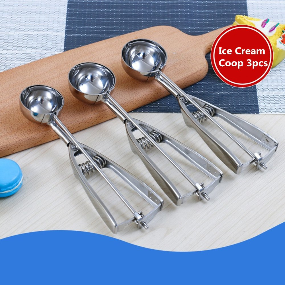 10.4 x 3.3 x 2.9 inches 3pcs 3 PCS Large-Medium-Small Size Balls Dr.JONY 1 Cookie Scoop with Trigger Select 18//8 Stainless Steel Multi-Function for Ice Cream and Fruit