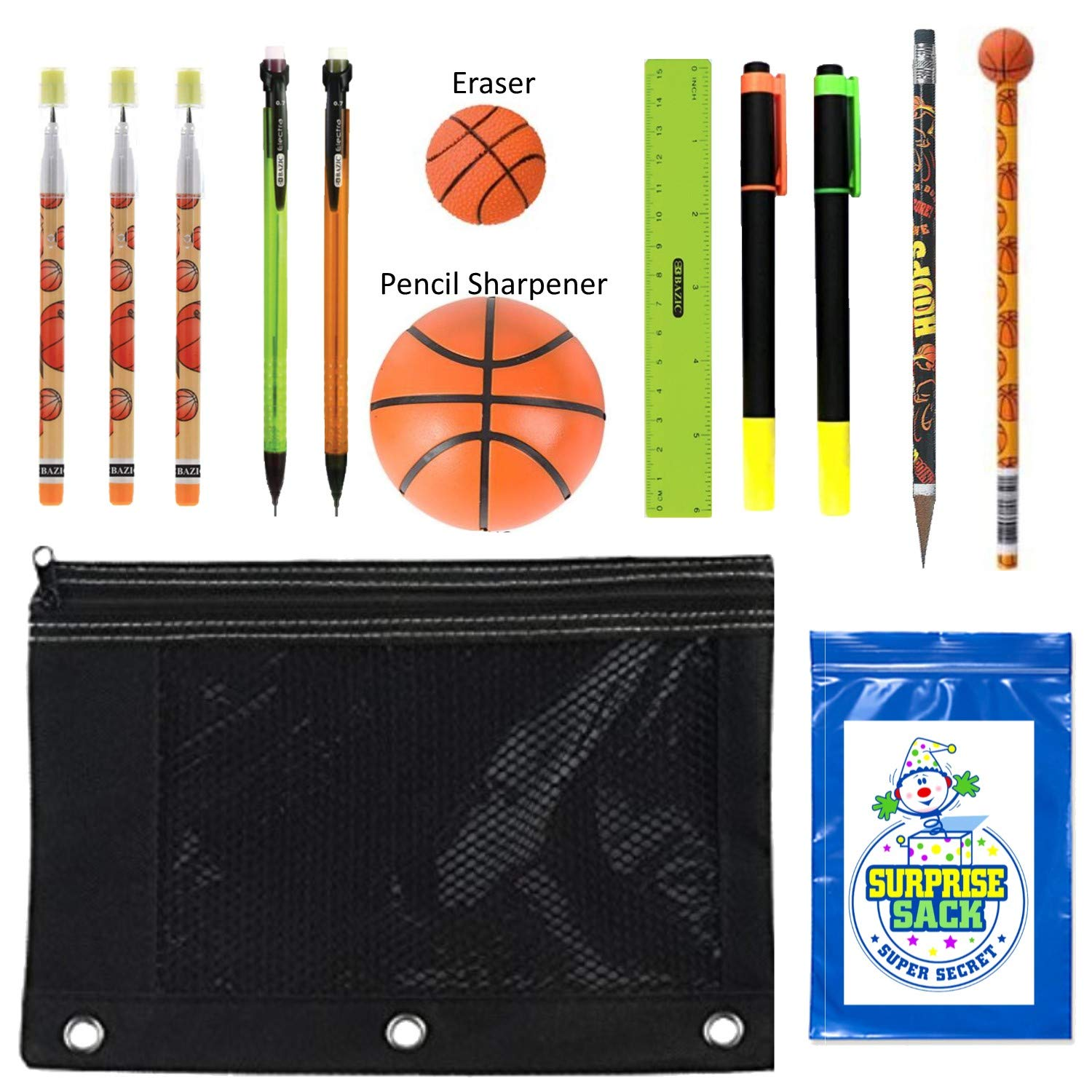 Kids Sports Themed Stationary Accessories-Sports Pencils, Erasers & More - Unique Back to School Supplies, Stocking Stuffers, Easter Basket Fillers (Green Pouch-Football) Raymond Geddes & Bazic