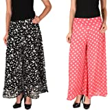 2Day Women's Georgette Butterfly Print and Polka Palazzo (Pack of 2)