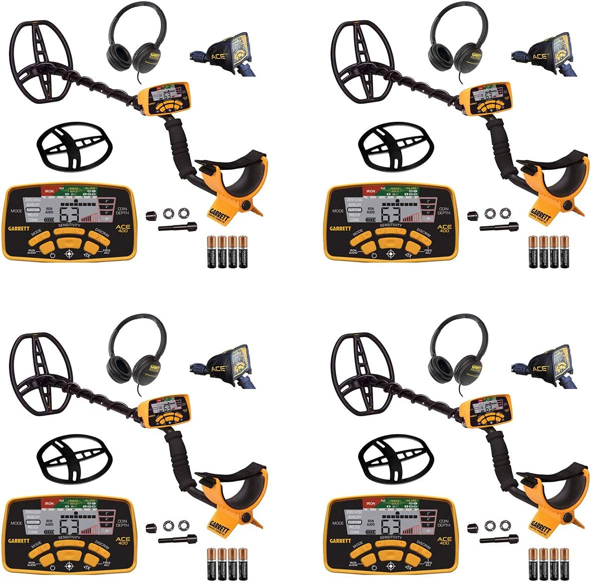 Garrett Ace 400 Metal Detector with Waterproof Coil and Headphone Plus Accessories Four Pack
