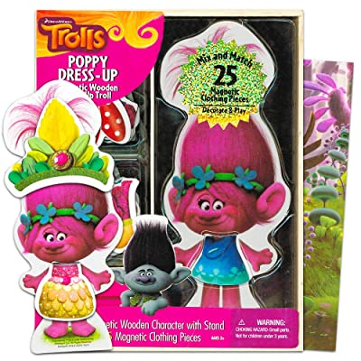 Bendon Trolls Poppy Dress-Up Magnetic Wooden Mix and Match: Toys & Games