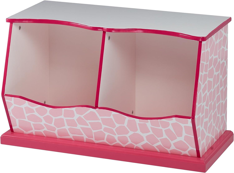 Teamson Kids - Fashion Giraffe Prints Miranda Toy Cubby Storage - Pink/White