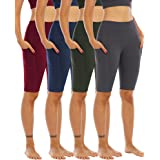WHOUARE 4 Pack Biker Yoga Shorts with Pockets for Women, High Waisted Tummy Control Workout Shorts