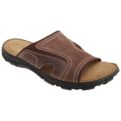 a20786b0cf7a Roamers Mens Leather Mule Sandals (6 UK) (Dark Brown)  Amazon.co.uk ...