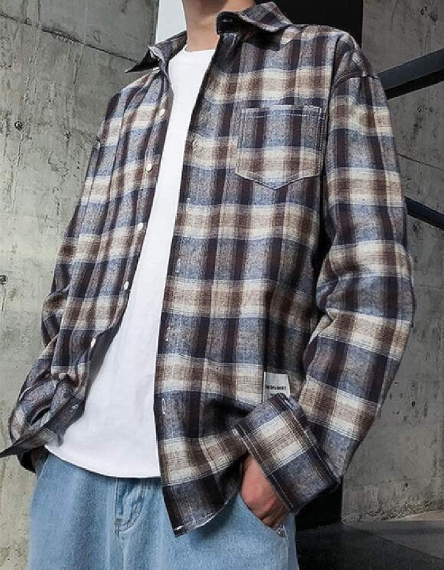 Sweatwater Mens Long-Sleeve Slim Fit Plaid Button Down Pocket Cotton Shirt