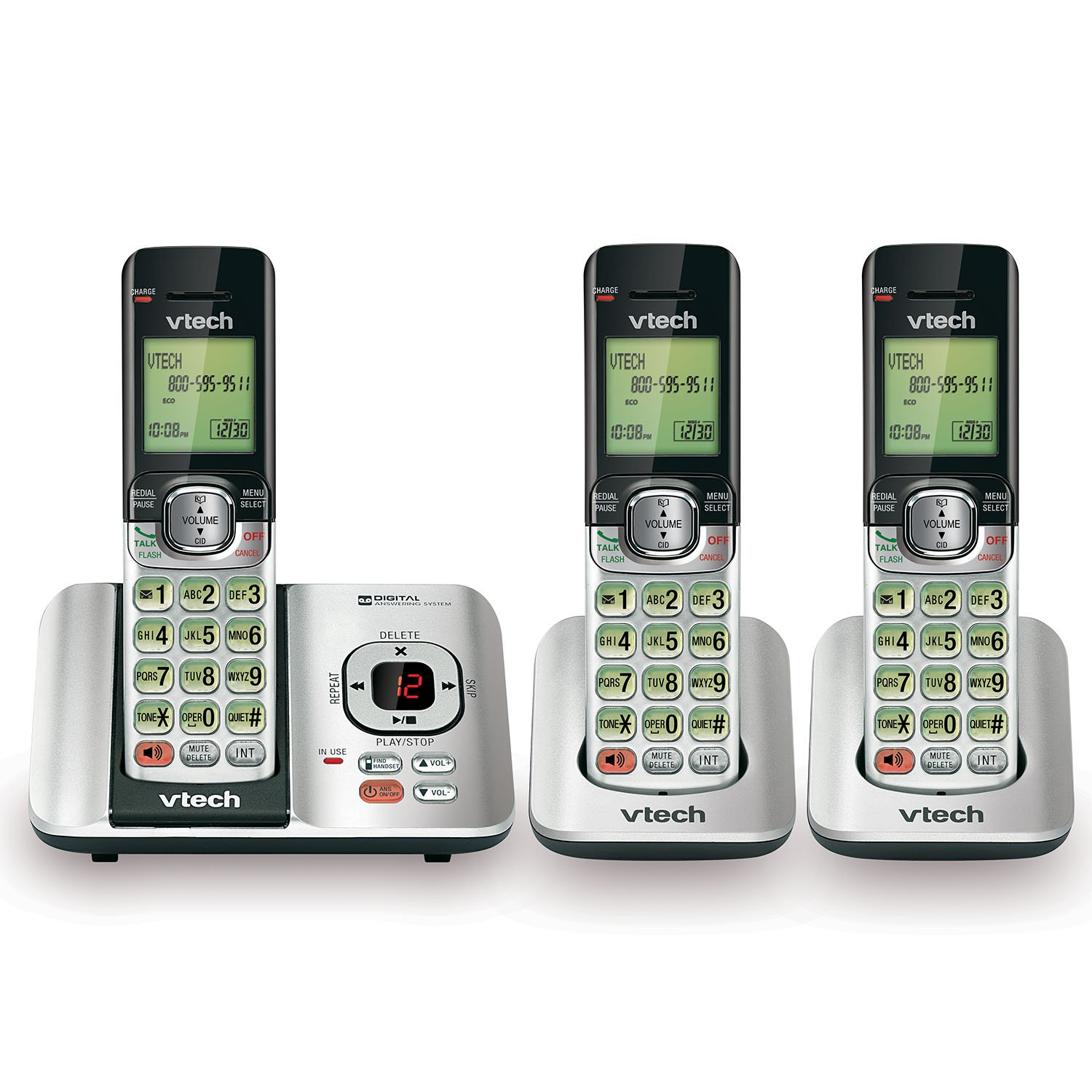 Red VTech CS6529-26 DECT 6.0 Phone Answering System with Caller ID//Call Waiting 2 Cordless Handsets