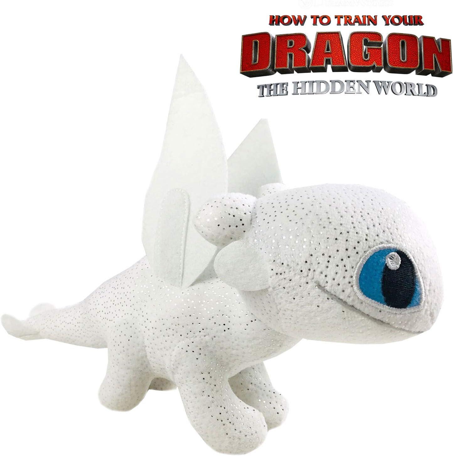 Play by Play HTTYD Dragons, como Entrenar a tu dragón - Peluche Furia Luminosa (Light Fury) Color Blanco con Brillante Calidad Super Soft 20cm (30cm Cola incluida) - 760017911