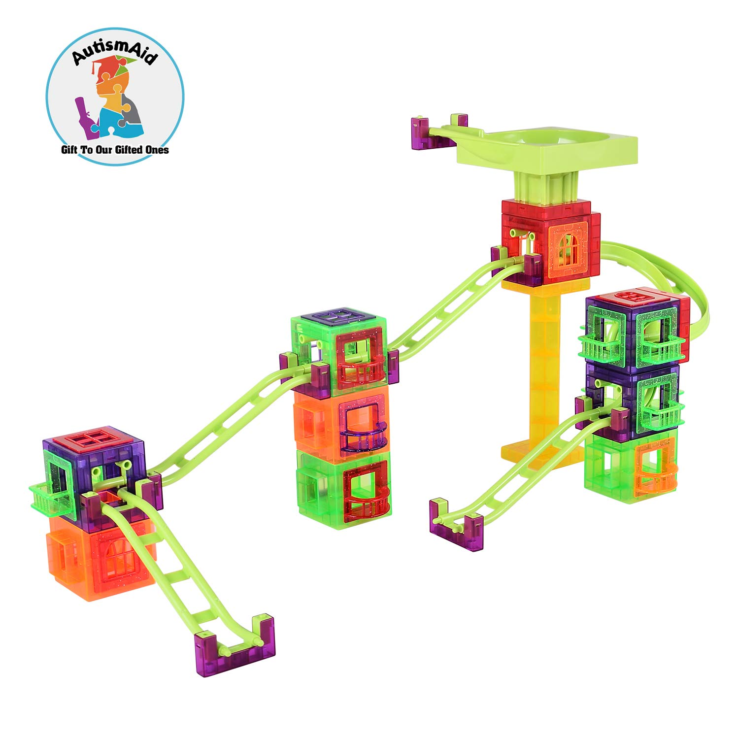 AutismAid Steam Mag Coaster 56 Pcs DIY Magnetic Puzzle Toys Educational Roller Coaster Building Blocks Marble Set for Autistic Children ADHD OCD and Stress Relief