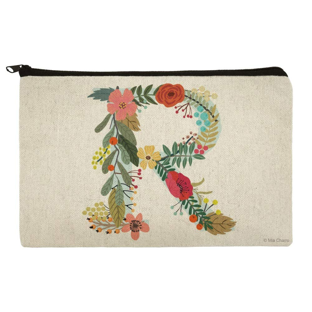 Letter R Floral Monogram Initial Makeup Cosmetic Bag Organizer Pouch