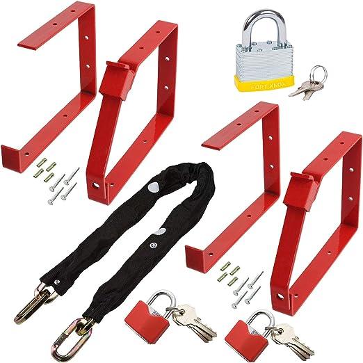 Spares2go Juego completo de cadena de seguridad para escalera con soportes de pared, juego de 2 candados: Amazon.es: Hogar